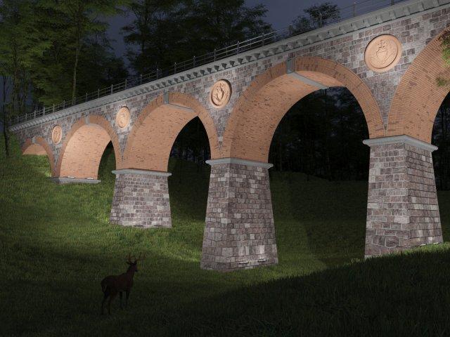 Park Bytów - iluminacja mostu
